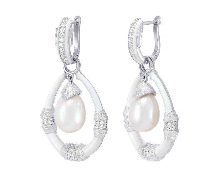 Серьги серебряные с белой эмалью белый родий