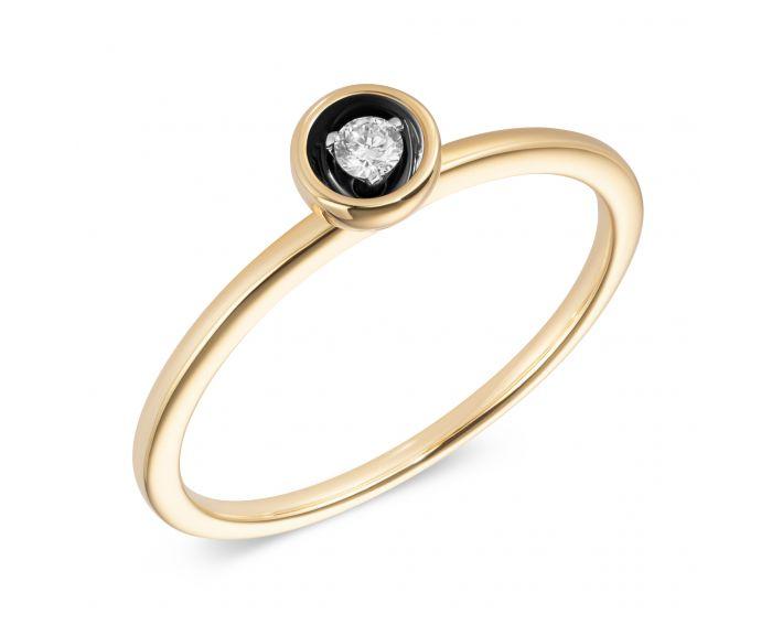 Кольцо с бриллиантом из желтого золота с черным контрастом