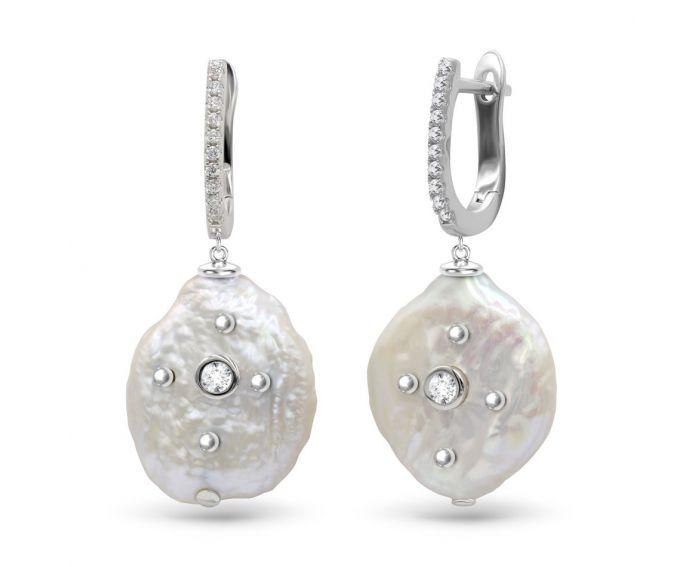 Серьги стефа серебряные с жемчугом ZARINA