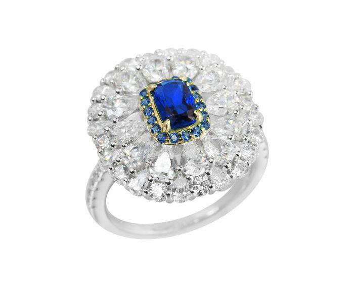 Каблучка срібна з фіанітами Синя квітка