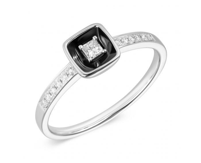Каблучка з діамантом та чорним родієм