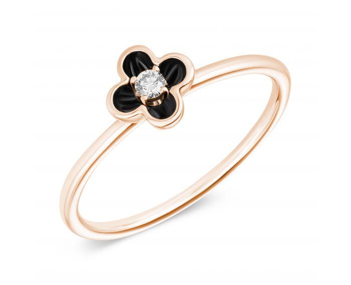 Каблучка з діамантом та чорним родієм з рожевого золота Квітка