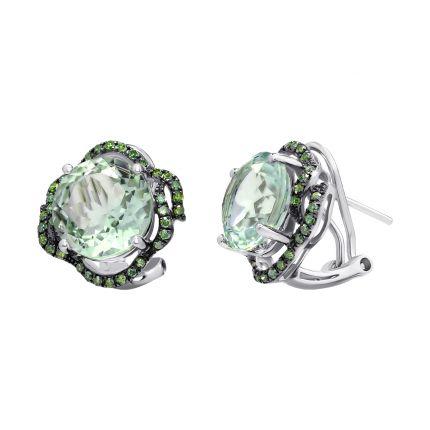 Сережки з діамантами та зеленим кварцем
