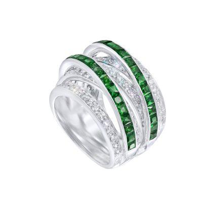 Каблучка з діамантами та смарагдами ZARINA