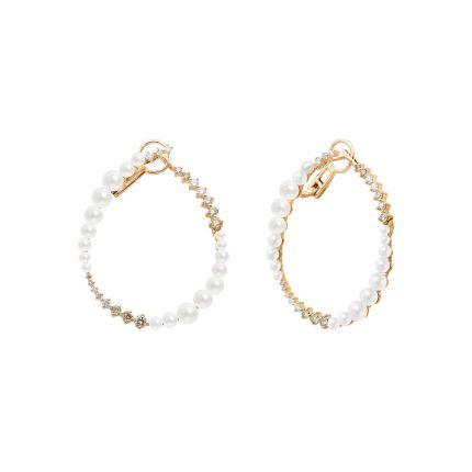Сережки з рожевого золота з діамантами та перлами ZARINA Новорічне сузір'я