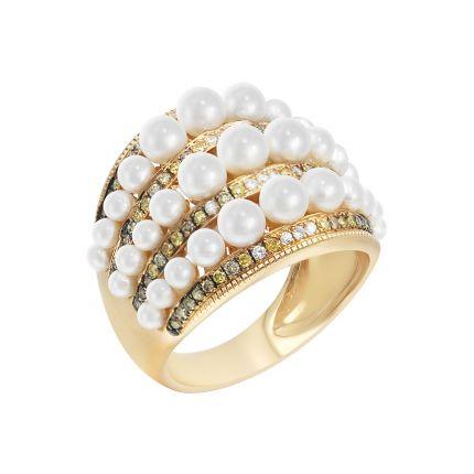 Каблучка з рожевого золота з діамантами та перлами ZARINA Сніжна феєрія