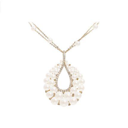Підвіс з рожевого золота з діамантами та перлами ZARINA Яніна