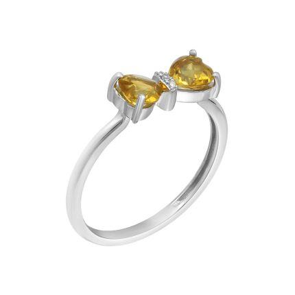Каблучка з  білого золота діамантами та цитринами