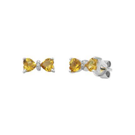 Сережки з білого золота з діамантами та цитринами