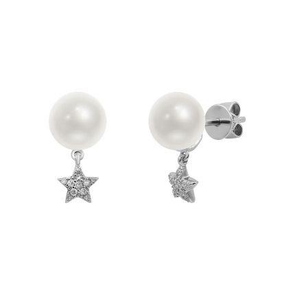 Сережки з білого золота з діамантами та перлами