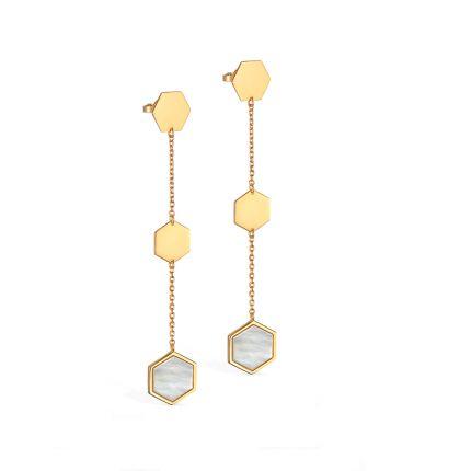 Серьги из желтого золота с перламутром