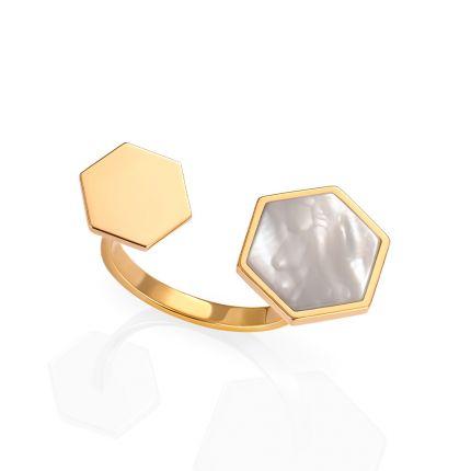 Кольцо из желтого золота с перламутром
