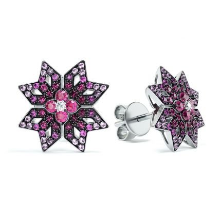 Сережки з білого золота з діамантами, рубінами та сапфірами ZARINA