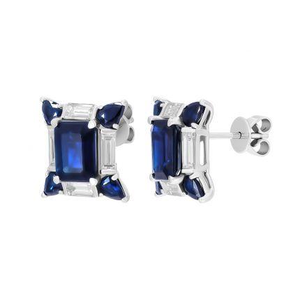 Сережки з діамантами багетної огранки та сапфірами