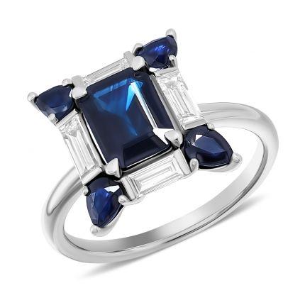 Каблучка з діамантами багетної огранки та сапфіром