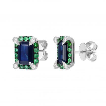 Сережки з діамантами, сапфірами та смарагдами