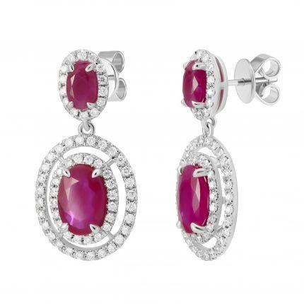 Сережки з діамантами та овальними рубінами