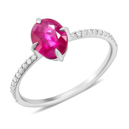 Каблучка з  овальним рубіном та діамантами