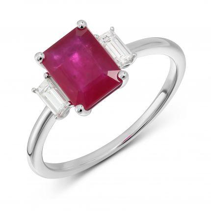 Каблучка з рубіном огранки октагон та діамантами