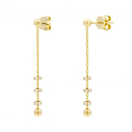 Сережки з діамантами жовте золото