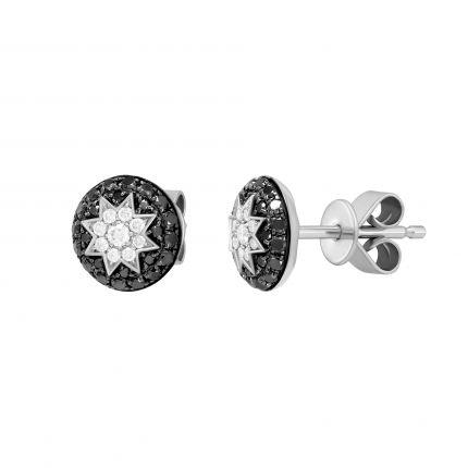 Сережки з чорними діамантами ZIRKA