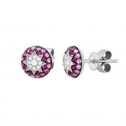 Сережки з діамантами, рубінами та рожевими сапфірами ZIRKA