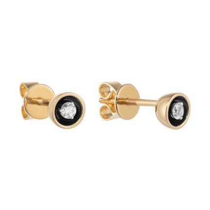 Серьги из желтого золота с бриллиантами и черным родием