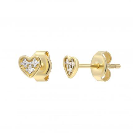 Сережки з діамантами Ніжне серце жовте золото