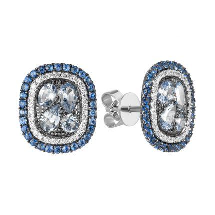 Серьги из белого золота с бриллиантами и сапфирами ZARINA