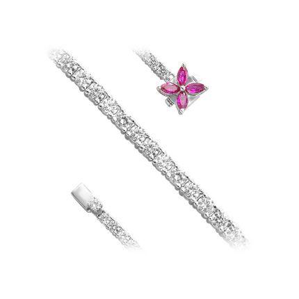 Браслет срібний з фіанітами та сапфірами NATKINA Квітка