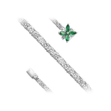 Браслет срібний з фіанітами NATKINA Квітка