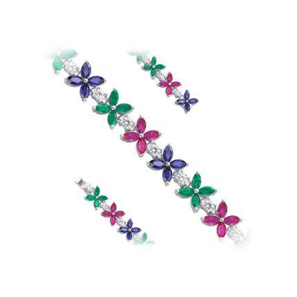 Браслет срібний з фіанітами,  рубінами та сапфірами NATKINA Квітка
