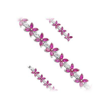 Браслет срібний з фіанітами і рубінами NATKINA Квітка