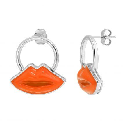 Сережки Цілунок підвісна модель помаранч