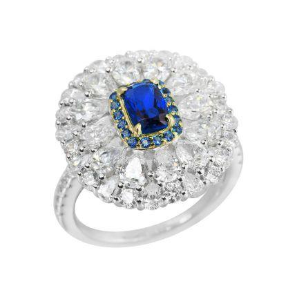 Кольцо серебряное с фианитами Синий цветок