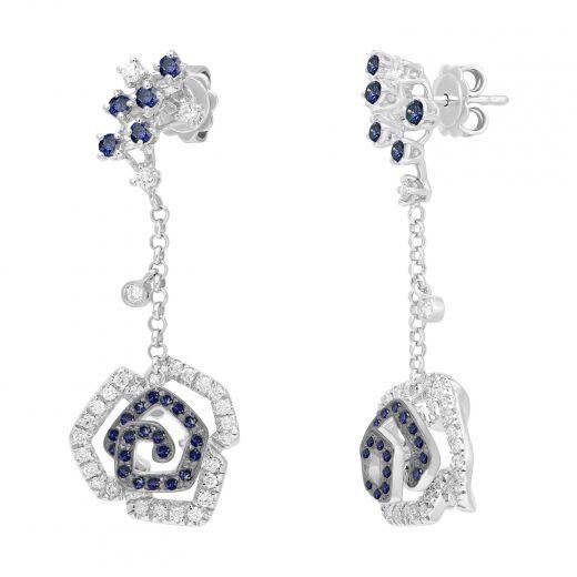 Сережки з діамантами та сапфірами Чарівнв троянда