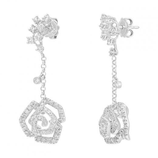 Сережки з діамантами Чарівна троянда