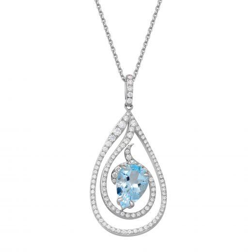 Підвіс з авамарином та діамантами
