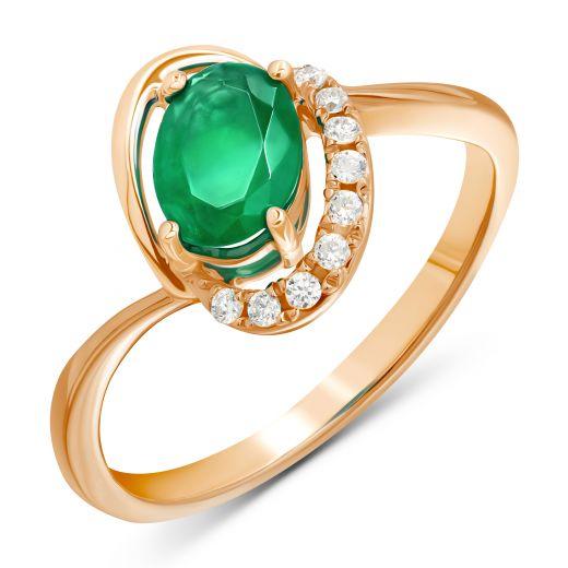 Каблучка Дженіфер в рожевому золоті з діамантами та смарагдом