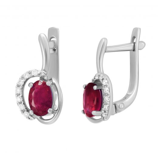 Сережки з діамантами та рубінами Айлен