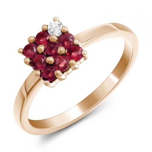 Каблучка чарівність з рубінами та діамантом в рожевому золоті