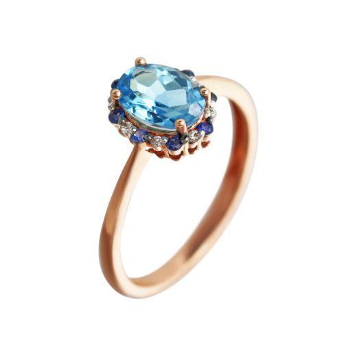 Каблучка з діамантами топазом та сапфірами в рожевому золоті