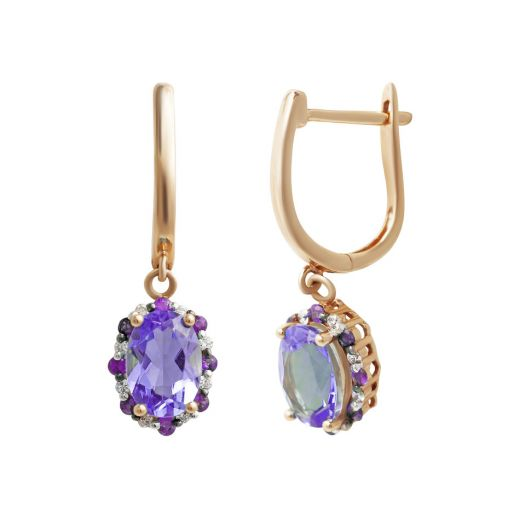 Сережки з діамантами, аметистами та рубінами у рожевому золоті