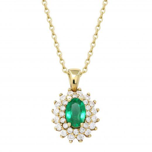 Підвіс Муза з діамантами та смарагдом в жовтому золоті