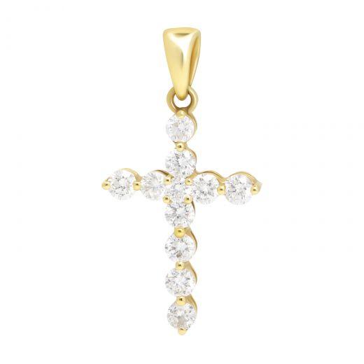 Підвіс-хрестик з діамантами в жовтому золоті
