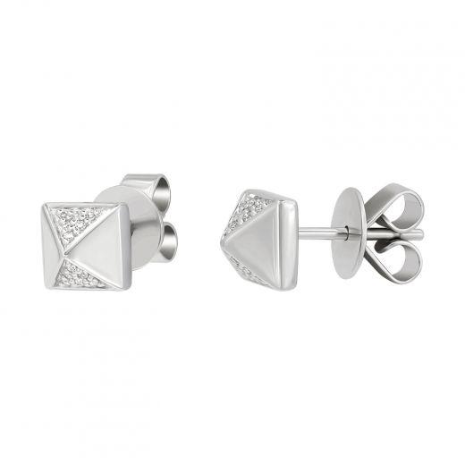Сережки з білого золота з діамантами Грань