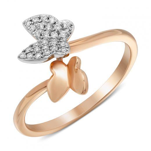 Каблучка метелики з діамантами в рожевому золоті