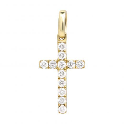 Підвіс-хрест з діамантами в жовтому золоті ZARINA