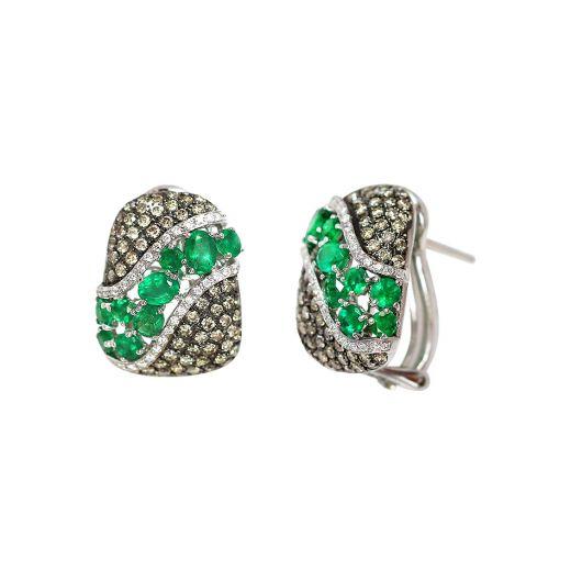 Сережки і білому золоті з діамантами та смарагдами