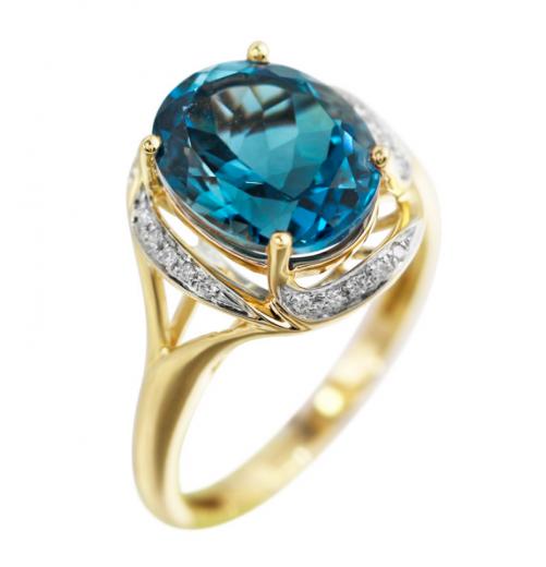 Каблучка з топазом Лондон блу та діамантами